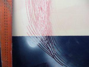 Non destructive penetrating dye in Glelcoat cracks.